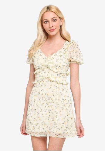 URBAN REVIVO yellow Frilly Printed Dress 5B630AA27E3835GS_1