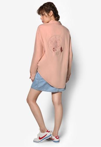 韓系時尚玫瑰壓花寬esprit outlet台北版長袖襯衫, 服飾, 上衣