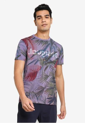 Desigual purple Hawaiian Printed T-shirt 0DB59AA8382D4FGS_1