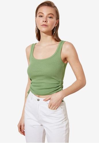 Trendyol green Gathered Side Tie Cami Top 162E8AAAF85AADGS_1