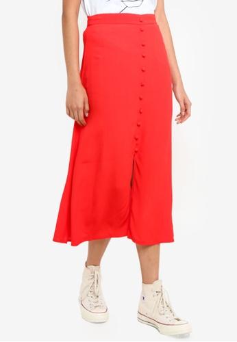 Pieces red Randi Midi Skirt BA5F6AA8B80B7FGS_1