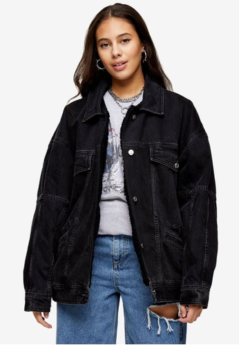 TOPSHOP black PETITE Washed Black Denim Oversized Borg Lined Jacket DCED0AA11B62D2GS_1