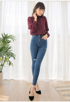ca6e9c876cbc68 44% OFF Kodz High-Neck Pleated Front Chiffon Top RM 149.00 NOW RM 83.90  Sizes S M L