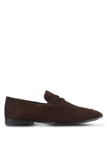 ZALORA brown Suede Leather Penny Loafers 72792SH9554C17GS_1