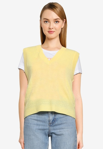 ONLY yellow Adalee V-neck Vest 18E41AAD883066GS_1