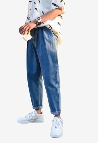 hk-ehunter 藍色 男裝中腰牛仔褲 445F7AAE94FED6GS_1