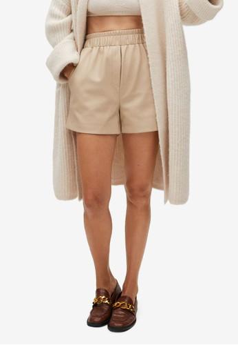 Mango beige Faux Leather Shorts 3A65CAA19319C7GS_1