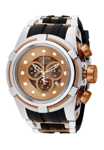 INVICTA black and gold Invicta Bolt Men 53mm Case Steel, Rose Gold, Black Stainless Steel, Polyurethane Strap Brown Dial Quartz Watch 0829 IN968AC0F5CASG_1