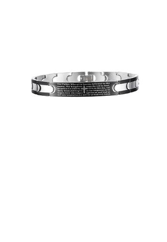 Glamorousky silver Fashion Personality Cross Geometry 316L Stainless Steel Bracelet 94BA5ACA0850C1GS_1