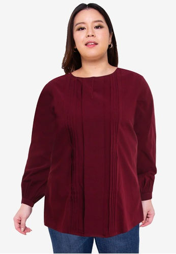 Ex'otico red Plus Size Long Sleeve Pleated Blouse B8093AA2F4F321GS_1