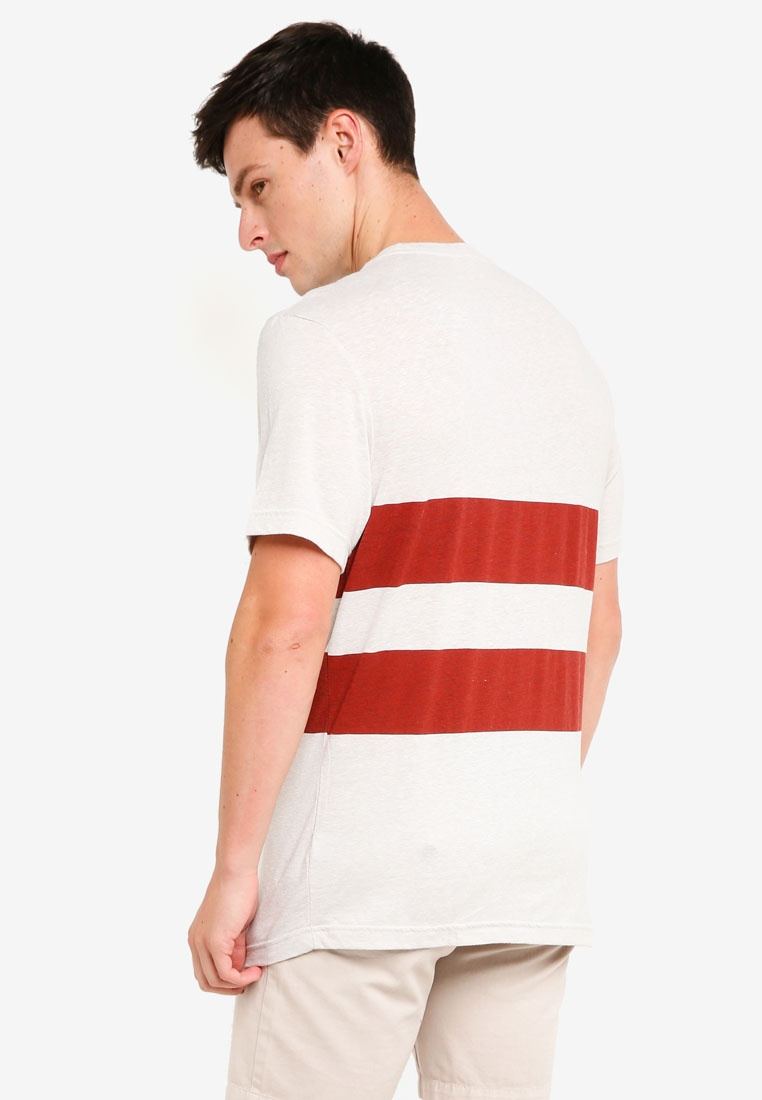 Stripe Ivory In Red Red T Shirt Triblend Double Crew J 8nxg1