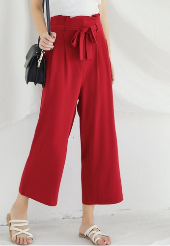 Shopsfashion red Belted Crop Pants in Maroon SH656AA0FNZGSG_1