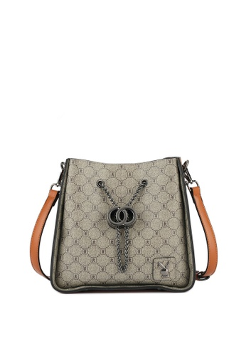 PLAYBOY BUNNY brown Chain Drawcord Sling Bag CEFF2AC7637065GS_1