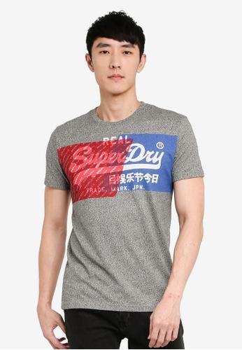 SUPERDRY grey Vintage Label Overlap Dye Tee 9051EAA8E4995AGS_1