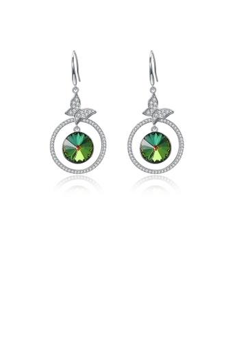 Glamorousky white 925 Sterling Silve Elegant Noble Romantic Sweet Butterfly Earrings with Green Austrian Element Crystal 7E759AC4DA24D7GS_1