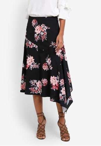 Dorothy Perkins black Floral Midi Skirt DO816AA0S09OMY_1