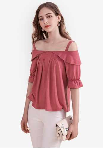 Eyescream red Frill Sleeve Cold Shoulder Top 3822FAA3553190GS_1