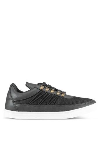 JAXON black Mixed Materials Sneakers EE83ESH97F14EDGS_1
