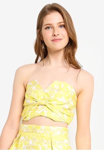 Miss Selfridge yellow PETITE Yellow Jacquard Top F1812AADEFC319GS_1