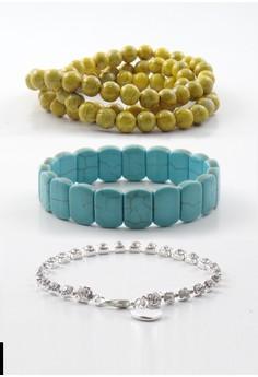 Pack of 3 Bracelets - Yellow, Turquoise & Rhinestone