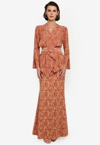 Zalia red Drape Texture Lace Kebaya Set AF5F0AA2D8D879GS_1