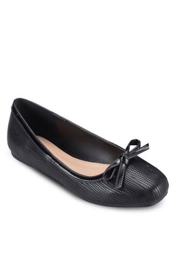 esprit hk蝴蝶結暗紋方頭平底鞋, 女鞋, 鞋