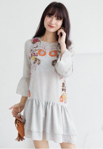 Shopsfashion grey Floral Printed Layered Shirt Dress SH656AA0GS4RSG_1