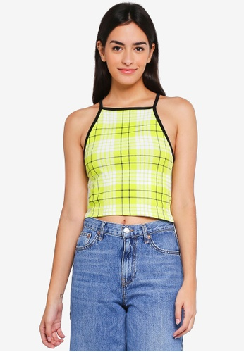 Factorie yellow and green Square Neck Cross Back Strap Tank Top 65090AA88C0979GS_1