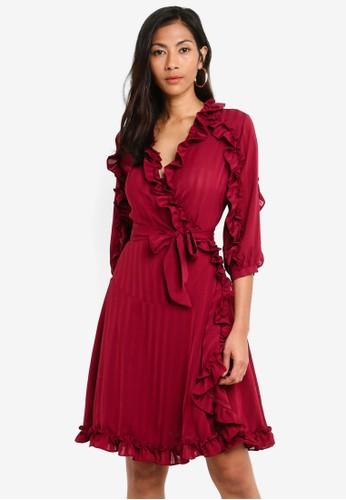 Megane red Red Romance Amarante Ruffle Hem Wrap Dress 5759BAA1D1809AGS_1