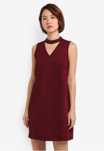 ZALORA red High Neck Detail Dress 56891AAC80BBADGS_1
