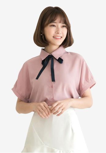 Tokichoi pink Chiffon Tie Neck Top BA6C8AA7BC0639GS_1