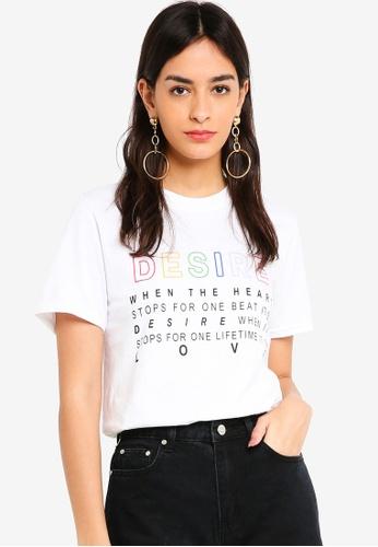 MISSGUIDED white Desire Rainbow Graphic Tshirt 00BD0AA3DB4191GS_1