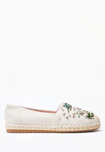 PAZZION beige Embellished Espadrille Flats E9408SH1926EDFGS_1