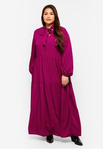 4e61eeabe25 ELVI purple Plus Size Kyra Maxi Smock Dress With Pussybow D81CEAAF34E777GS 1