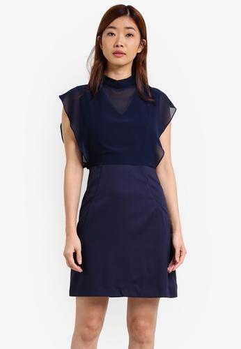 ZALORA blue and navy Sheath Dress with Chiffon Top 82427AAFFA3601GS_1
