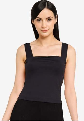 Abercrombie & Fitch black Seamless Square Neck Tank Top 3BFDDAA2035B19GS_1
