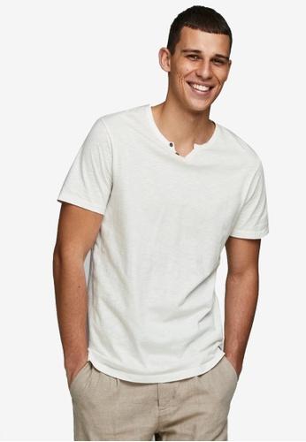 Jack & Jones 白色 開叉短袖T恤 1095FAA17496FDGS_1