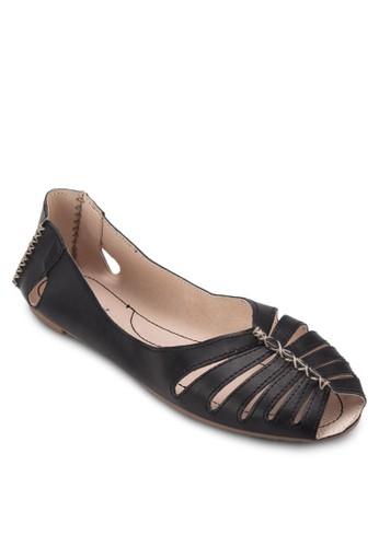 鏤空露趾漆皮平底鞋, 女鞋esprit outlet 台灣, 鞋