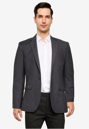 Topman grey Slim Fit Suit Jacket 910F5AAC07D9E5GS_1
