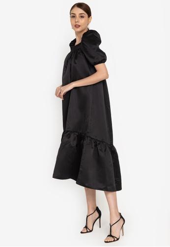 ZALORA OCCASION black Puff Sleeve Satin Dress 11910AA08A3A5EGS_1