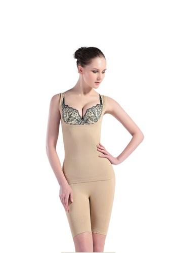 YSoCool beige Women 2 Pcs Set Shapewear Body Shaper Cami And Shorts 9C714US2D39750GS_1