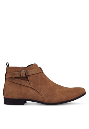 Topman brown Tan Faux Suede Fisco Buckle Boots 51F3FSH28020F3GS_1