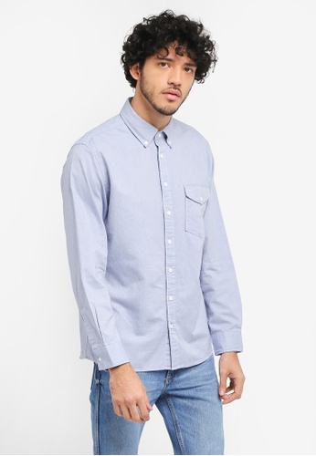 MANGO Man blue Regular-Fit Oxford Cotton Shirt MA449AA0T1FDMY_1