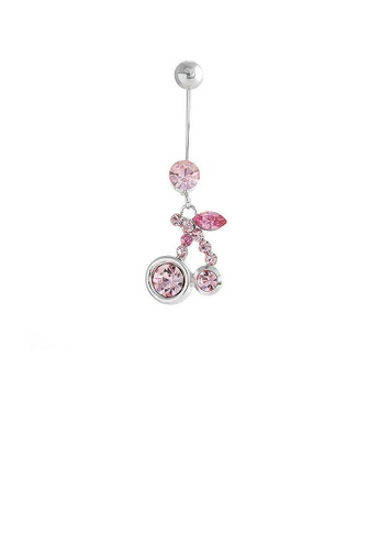 Glamorousky pink Cherry Belly Ring with Peach Pink Austrian Element Crystals 52C86AC2802E07GS_1