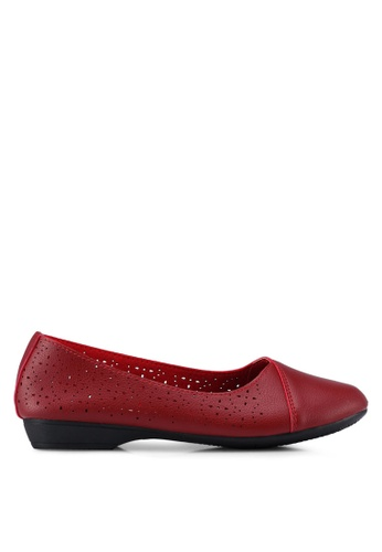 Louis Cuppers red Perforated Ballerina Flats FADB1SH7C88323GS_1