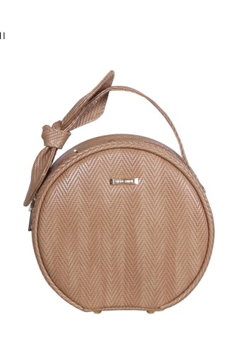 Verchini beige Verchini Top Zip Bow Round Tote Shoulder Bag 343CDAC5D31AECGS_1