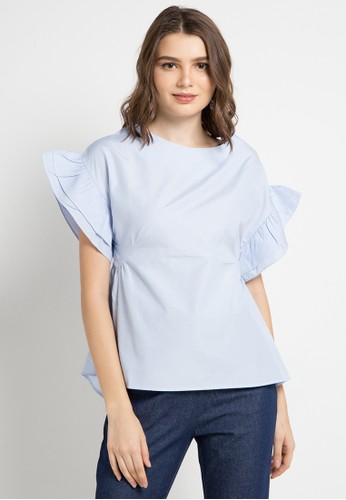 ELLE blue and multi Ruffle Sleeve Striped Blouse 15CBBAADA1030EGS_1