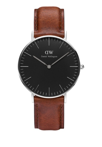 Daniel Wellington silver and brown Classic Black St Mawes Watch 36mm DA376AC73NBUMY_1