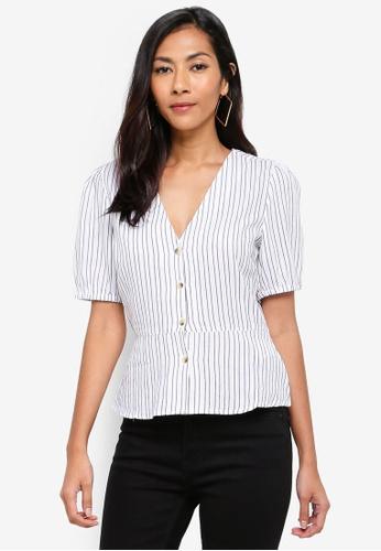WAREHOUSE black and white Thin Stripe Button Blouse 56177AAE8F1F50GS_1