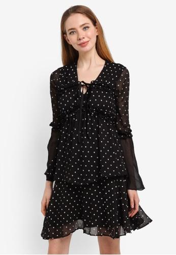 LOST INK black Ruffle Trim Tiered Dress B7B26AA18297B9GS_1
